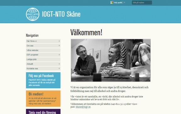 Skärmdump från IOGT-NTO Skånes distriktshemsida